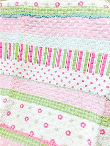Cozy Home 6-Piece Pink Green Dot 100% Bedspread Gifts Kids Girls