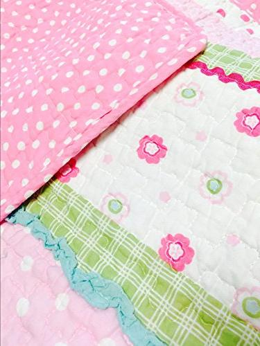 Cozy Line Fashions 6-Piece Quilt Pink Green Pastel Polka Dot Bedspread Coverlet, Gifts for Kids Girls