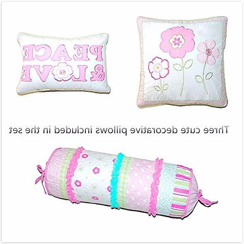 Cozy Line Home Fashions 6-Piece Quilt Set, Pink Dot Flower 100% Bedspread Coverlet,