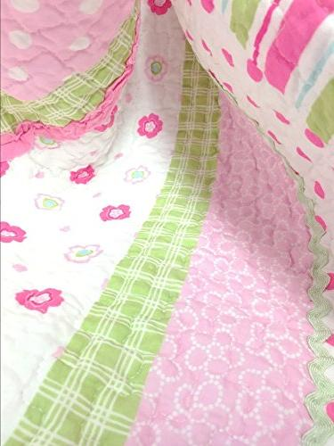 Cozy 6-Piece Bedding Set, Pink Green Pastel Polka Dot Flower 100% Cotton Bedspread Coverlet, Kids