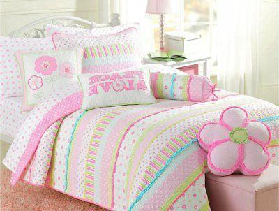 quilt bedding set pastel polka