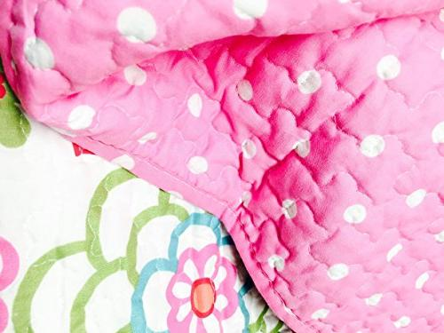 Cozy Line Fashions 2-Piece Quilt Set, Pink Polka Dot Flower, Lightweight Reversible Bedding Kids