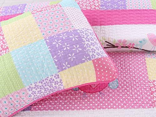 Cozy Line Home 7-Piece Bedding Pink Owl Green White Print Cotton Bedspread Coverlet Set, Gifts for Kids