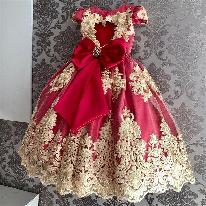 Red Kids Birthday Party Princess Wedding Bridesmaid Gown
