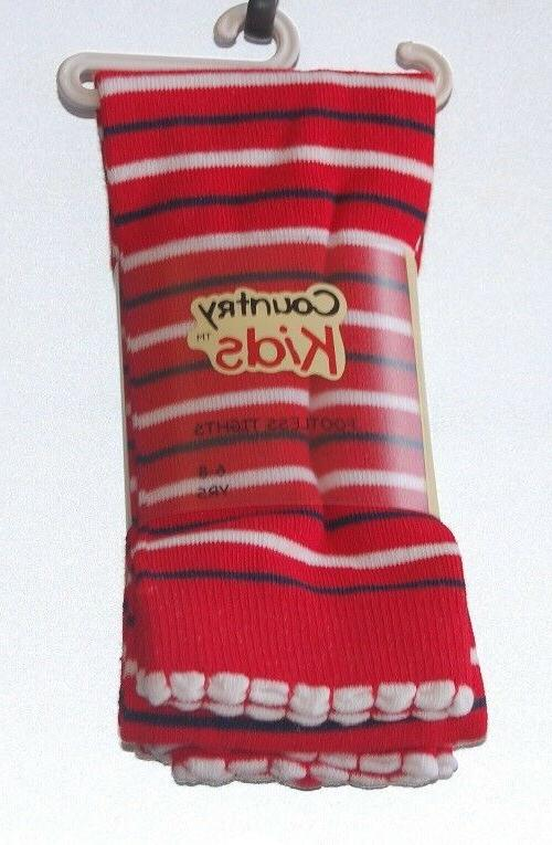red nautical footless tights by