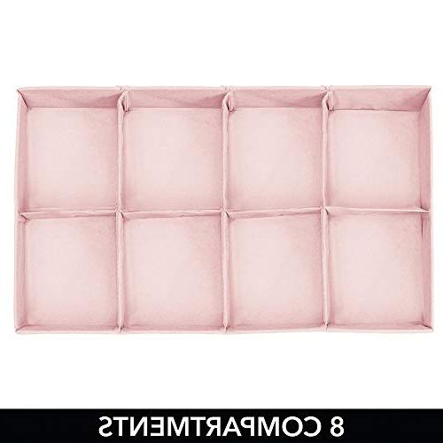 mDesign Soft Drawer and Closet Organizer Child/Kids or Nursery - 8 Section Fun Polka Print, 2 - Pink with