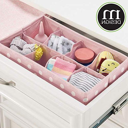 mDesign Drawer and Organizer for Child/Kids or Nursery - Section Rectangular Organizer Fun Polka Print, 2 with