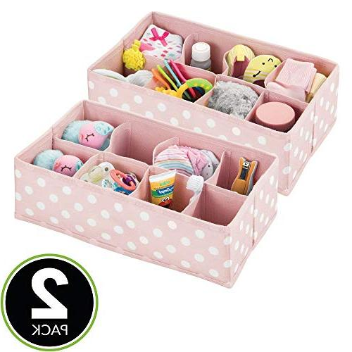 mDesign Drawer Organizer Child/Kids Room or 8 Section Fun 2 - with White Dots