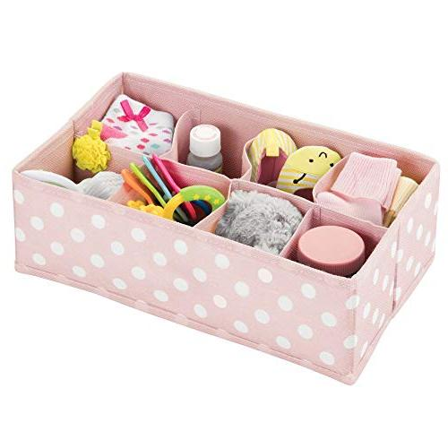 mDesign Soft Fabric Drawer Closet Storage Organizer for Child/Kids or Section Fun Polka 2 - Pink with White Dots
