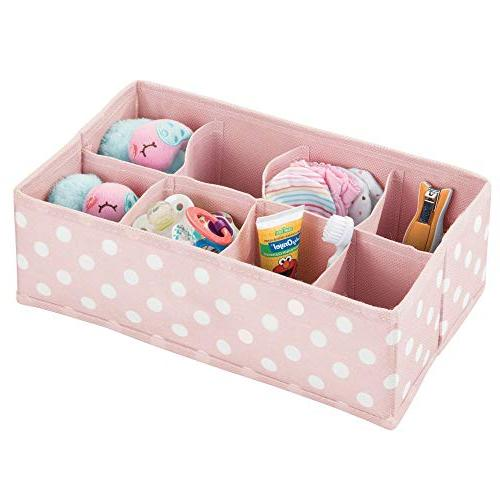 mDesign Fabric Drawer Organizer for or Section Rectangular Organizer Fun Polka Dot 2 Pack with