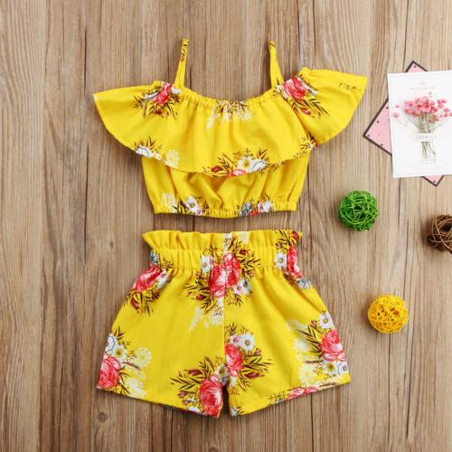 Toddler Baby Flower Ruffe Tops Summer Outfits Sunsuit