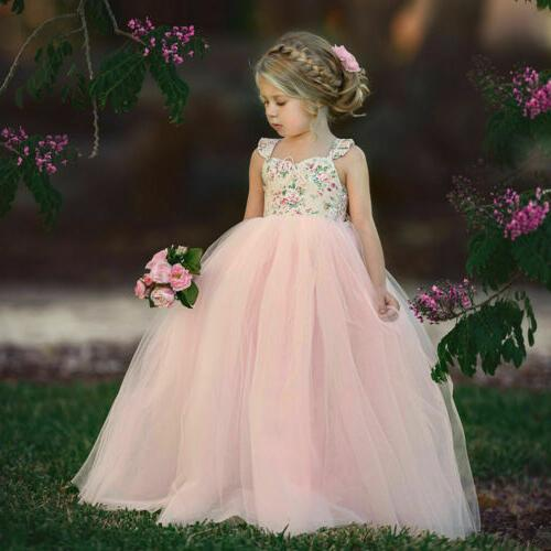 Toddler Girl Dress Kids Wedding Lace Tulle Sundress