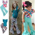 Toddler Kid Baby Girl T-shirt Tops+ Flared Floral Pants 2pcs