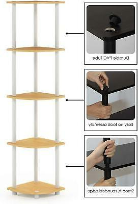 Furinno Turn Tube 5 Shelf Particle Board Tubes Beech