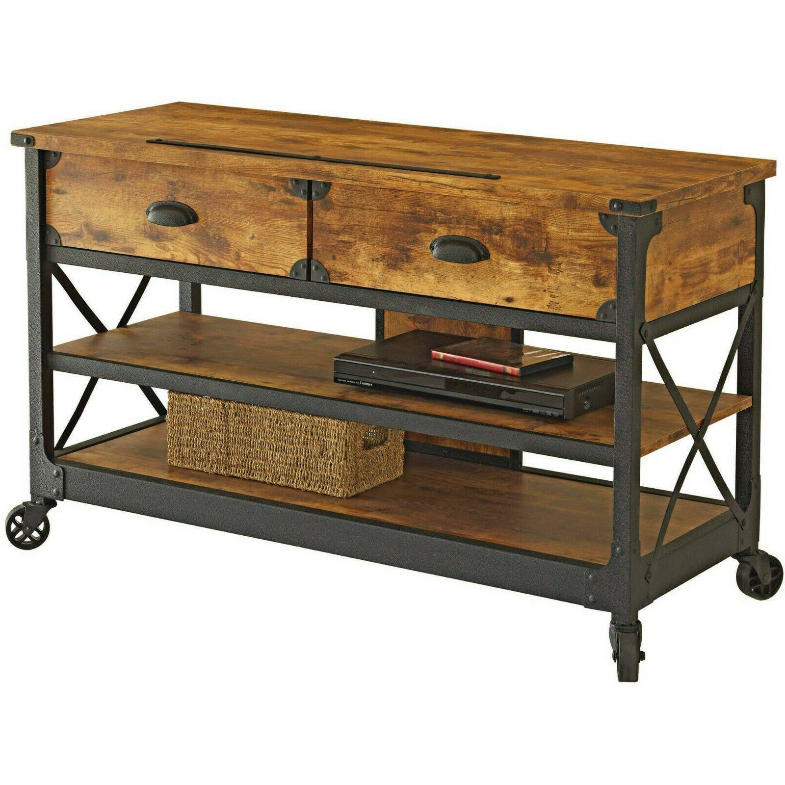 TV Stand Media Console Wood Rustic Table 2 Drawer Cabinet We
