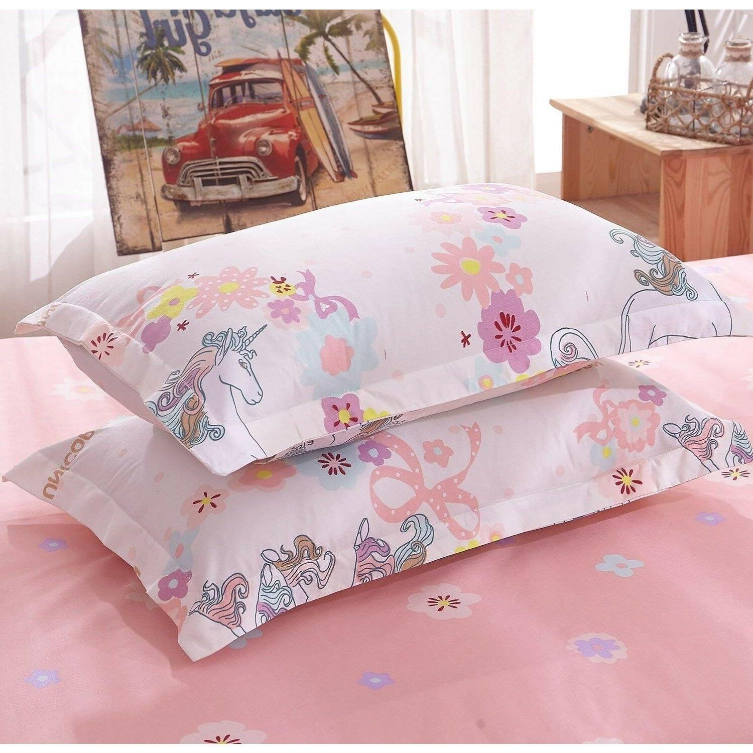 Unicorn Bedding Twin Pink Girl Cover For Set
