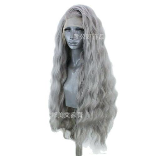 US 24inch Synthetic front Handtied Silver grey Wavy