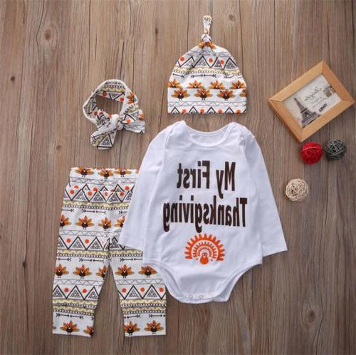 US Kids Newborn Baby Boy Girl T-shirt Tops+Pants+Hat+Headban