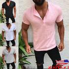 US Men Slim Fit V Neck Short Sleeve Muscle Tee T-shirt Casua