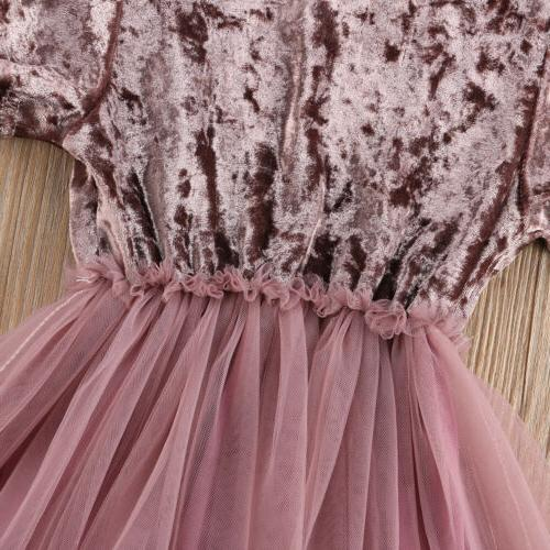US Stock Kids Girls Velvet Dress Dresses