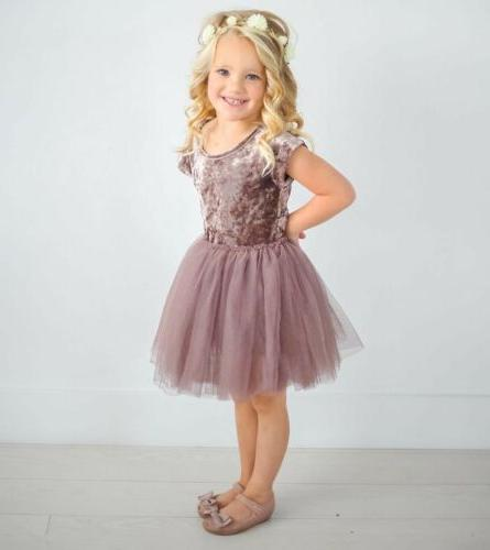 US Kids Girls Velvet Tutu Lace Dress Party Dresses