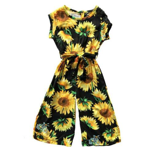 US Kids Girls Sunflower Jumpsuit Outfits