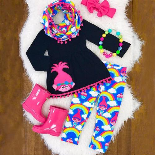 USA Baby Girls Christmas Tops +Pants Outfits Clothes