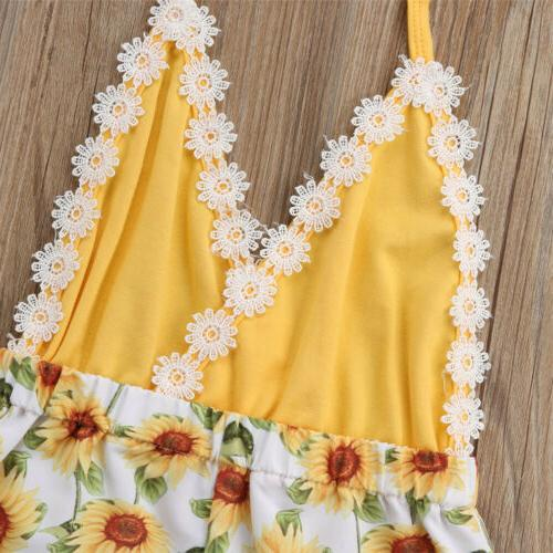 USA Toddler Girls Sunflower Romper Bodysuit Jumpsuit Outfit
