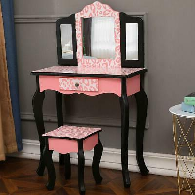 Vanity Table Dressing Table Stool Mirror with
