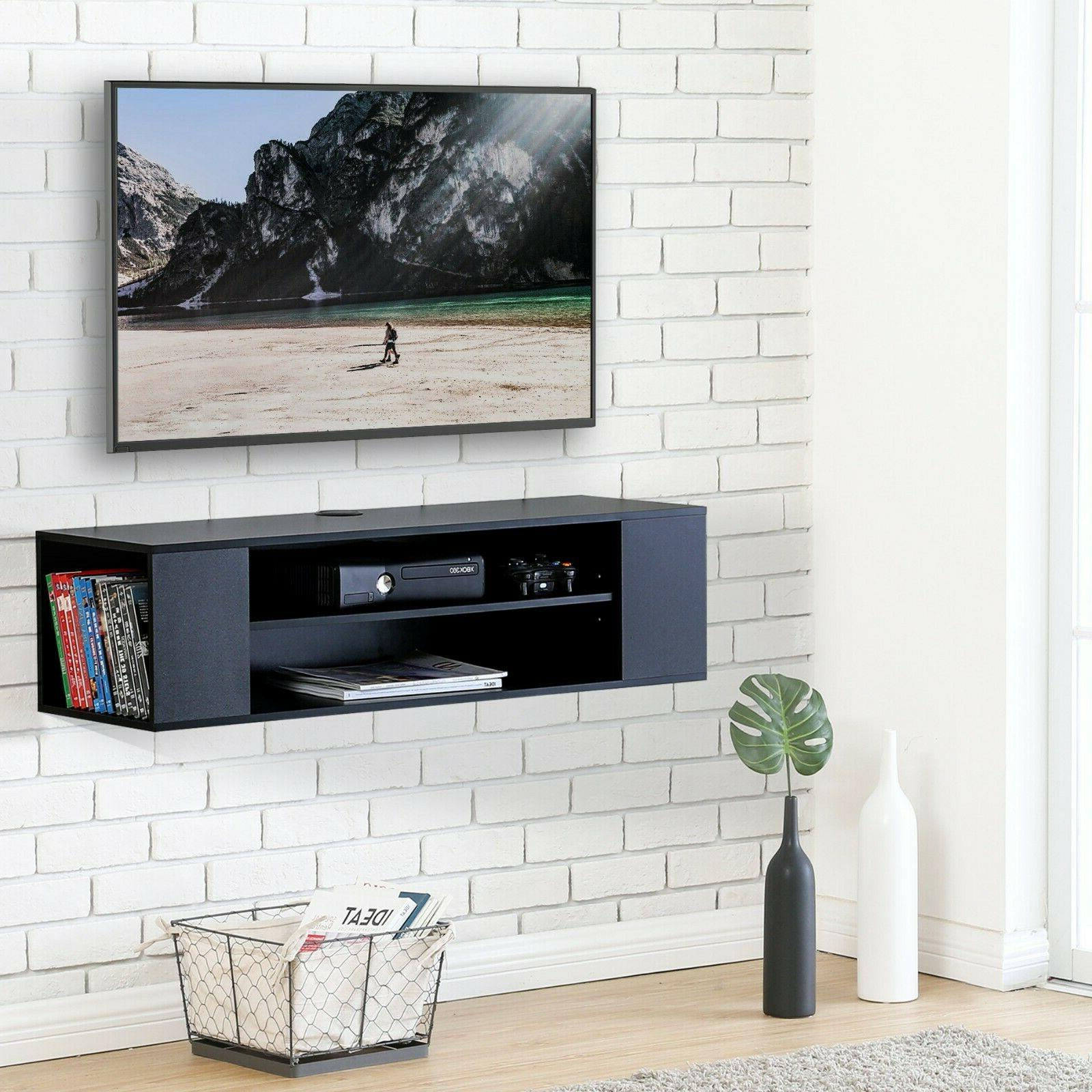 FITUEYES Wall Mounted Console,Floating TV Stand Shelf,Black