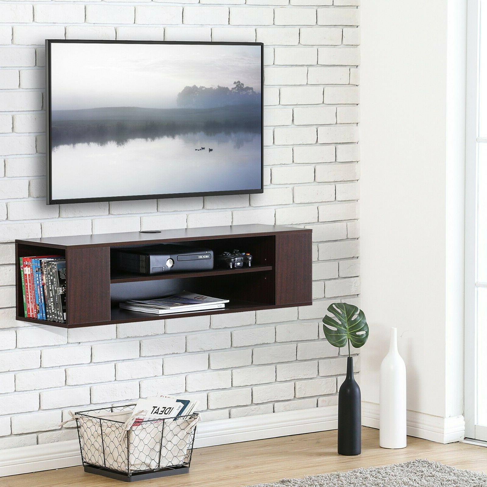 FITUEYES Wall Console,Floating Stand Shelf,Black