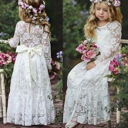 Lace Flower Girl Dress Maxi Long Formal Ball Gown for Kids W