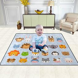 Learn About Animals Kids Educational Area Rugs Non-Slip Boys
