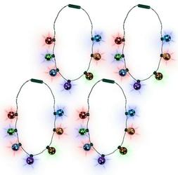 LED Light-up Christmas Holiday Jingle Bell Necklace for Kids