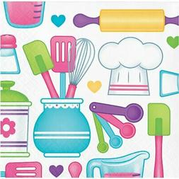 Little Chef Cook Baking Food Girls Kids Birthday Party Paper