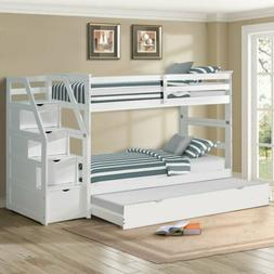 Loft Bed Ladder with 4 Storage Drawers Bedroom Dorm For Boys