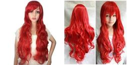 "Ani·Lnc 24"" Long Wavy Red Synthetic Cosplay Hair Wig For Ch"