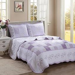 Cozy Line Home Fashions Love of Lilac Bedding Quilt Set, Lig