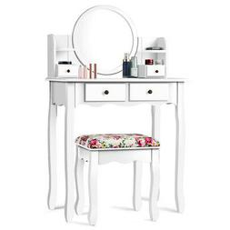 Makeup Vanity Table Set W/Drawers Oval Mirror Girls Dressing