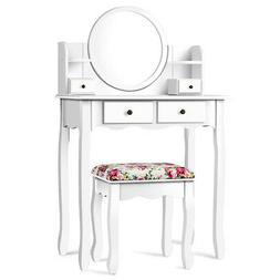 Makeup Vanity Table Set with Drawers Oval Mirror Girls Dress