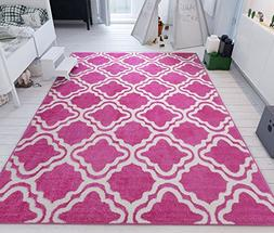 Modern Rug Pink 5'X7' Lattice Trellis Accent Area Rug Entry
