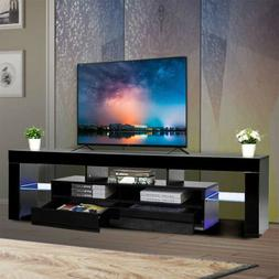 Modern TV Stand with LED Lighting Wood Media Storage Console