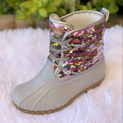 NEW ARRIVALS GIRLS SEQUIN DUCK BOOTS. SIZE 11,12,13,1,2,3,4