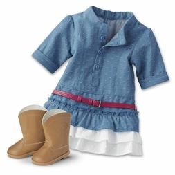 NEW American Girl Doll Western Chambray Outfit Cowgirl Truly