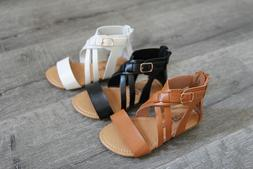 New Girls Kids Zipper Cross Gladiator Summer Beach Sandals S