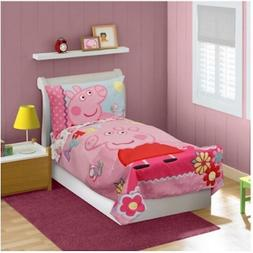 NEW - KIDS GIRLS PEPPA PIG - 4 PIECE TODDLER BEDDING SET