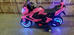 NEW LED 12V MOTOR CYCLE PINK KIDS RIDE ON ELECTRIC SPORTS BI