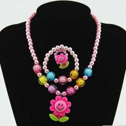 Novelty Charms Flower Jewelry Set Necklace/Earrings/Ring/Bra