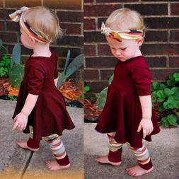 Novelty Kids Toddler Baby Girl Tops Dress+Long Pants+Headban