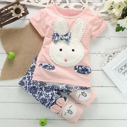 Novelty Toddler Kids Baby Girl Short Sleeve T-Shirt +Pants B